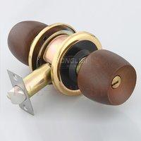 beech doors - 2set NEW unique brown beech round knob cylindrical lock deadbolt safe tubular door lock for interior wooden doors gold color