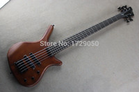 Wholesale Real photos Top quality one piece set neck And body W String natural wood Dark brown electric bass guitar