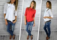 best blouse patterns - 2016 New Pattern Ma am Bow Women Chiffon Shirt European Best Sellers Ladies Lace Tops Printing Tank Plus Size Dudalina Blouses