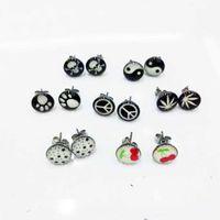 barbell stud earrings - 10mm Glow In The Dark Skull Leaf Logo Stud Earring Stainless Steel Luminous Glowing Earrings Piercing Ear Barbell