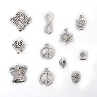 antique ship bell - Mixed Antique Silver Plated Zinc Alloy Skull Bell Charms Pendants DIY Metal Jewelry Findings jewelry making