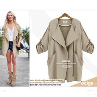 Wholesale New Women Trench Coats Turn down Collar Long Sleeve Overcoat Waist Belt Casual