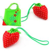 Wholesale 100pcs PVC Portable Strawberry Bags Eco Reusable Shopping Bag Tote Folding Foldable Bag