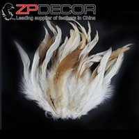 Wholesale Leading Supplier ZPDECOR cm inch Good Quality Real Natural White Chinchilla Rooster Coque Feathers for Costume