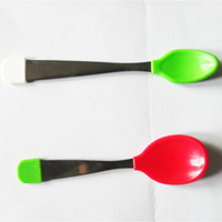 baby silver spoon - Cheap Baby spoon children s dishes Baby feeding spoon silver utensils Silicone tableware DHL free