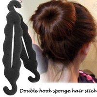 Wholesale Fashion Beauty Salon For Women Double Hook Sponge Hair Stick Necessary Figure Head Meatball Head Tool Cheap And Convenience Hair Stick