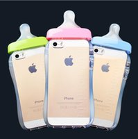 baby cases - Cute D Baby Nipple Milk Bottle TPU Gel Back Case Cover Skin Silicone Cover With Hang rope for