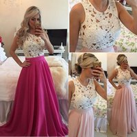 chiffon maxi dresses - Pink And Fushia Lace Cheap Party Dress A Line Pearls Chiffon Cheap Prom Dress Under Formal Cocktail Dress Evening Wear