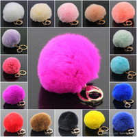 key rings - Lanway Gold Rabbit Fur Ball Keychain fluffy keychain fur pom pom llaveros portachiavi porte clef Key Ring Key Chain For Bag