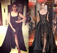 art buyer - 2016 Elie Saab Real Buyer Show Prom Dresses Gown Hot Sexy Black Lace Pearls Crystal Two Pieces Split Evening Gown Dubai Saudi Arabic