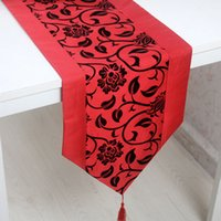 Wholesale 76 quot X11 quot Raised Flower Blossom Flocked Damask Table Runner Cloth Wedding Decor Available for Shipment Exclusively within the U S