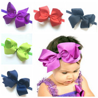 baby bow ornaments - 2016 inch baby newborn hair bow headband children hair baby headband ornaments factory direct hair accessories colors