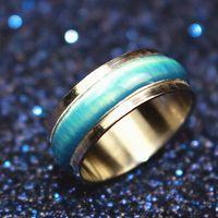 al por mayor ojo del esmalte-Nuevo azul ópalo de ojos de gato esmalte Rotatable anillo de acero inoxidable dedo para las mujeres punk y Rock hombres moda joyería