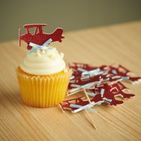 airplane baby shower cake - Glitter Airplane Cupcake Toppers wedding birthday bridal baby shower Bachelorette Party Decor cake toppr food picks