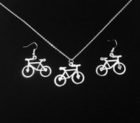 bicycle earrings - New Vintage Bicycle Antique Silver Charm Earring Pendant Necklace Jewelry Set Gift hot sale new fashion