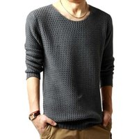 Wholesale Men s Sweaters Autumn Winter Casual Knitted Pullovers Men Grey Black O Neck Male Fashion Thin Pullover Sweater