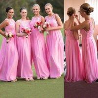 beautiful girl photos - Sweet Bridesmaid Dress Cheap For Girls Fuchsia Floor Length Sleeveless Lace Scoop Neck Side Zipper Custom Made Prom Dress Beautiful