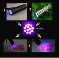 Wholesale 1000pcs Aluminium LED LED UV Ultra Violet Mini Portable Flashlight Torch Light Lamp Silver
