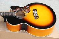 Wholesale 2017 Nuevos Fábrica Chibson J200 solo corte acústico single cutaway guitarra acústica SJ200 VS eléctrica Acústica negro duro shell