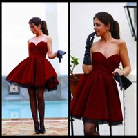 beaded wine skirt - Wine Red Satin Prom Dresses Hot Sale Sweetheart Elegant Velvet Ruffle Skirts Formal Homecoming Dresses Sexy Party Gowns