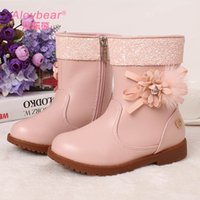 Rubber bear new shoes - Girls Boots Winter New Designer Kids Shoes Microfiber Leather Colors Flowers Bear Paillette Edge Thick Warm Girl s Snow Boot