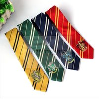 Wholesale Harry Potter Necktie Badge School Tie Gryffindor Slytherin Ravenclaw Hufflepuff Ties Costume Accessory Tie Stripe Hogwarts Neckties B484
