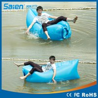 Wholesale Fast Inflatable Camping Sofa banana Sleeping Bag Hangout Nylon lazy lay laybag lamzac Air Bed chair Lounger same as lamzac
