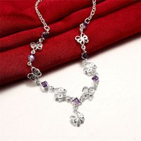 Cheap New arrival fashion flower shape 925 silver Pendant Necklaces STPN128, best gift purple gemstone sterling silver jewelry necklace