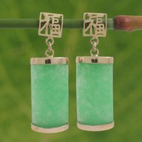 asian oriental - 2016 new of Peking China lt lt k Solid Yellow Gold GOOD FORTUNE Dangle Curved Green Jade Oriental Earrings
