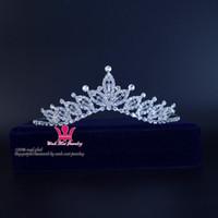 Wholesale Silver Queen Crown - Rhinestone Crystal Bridal Wedding Tiaras Crown Handmade Princess Queen Hair Accessories Headband Clips Flower Pretty Girls Child Tiara Km192