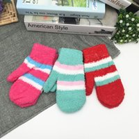 Wholesale Private gloves The winter warm stripe bag gloves Knitting wool fluffy students gloves color random delivery YL02