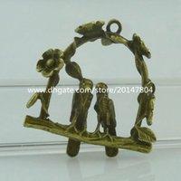 antique birdcage - 15059 Alloy Antique Bronze Vintage Two Love Birds Flower Birdcage Pendant