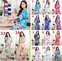 bath gowns - 14 colors womens Solid royan silk Robe Ladies Satin Pajama Lingerie Sleepwear Kimono Bath Gown pjs Nightgown A054