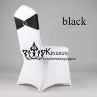 Wholesale White Spandex Chair Cover Lycra Chair cover And Black Color Lycra Band Spandex Chair Band With Buckle