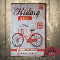 Wholesale Metal signs Riding is Fun vintage Retro Shabby chic Bicycle Tin sign wall plaque C