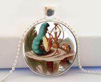 alice flower - Pendant ALICE IN WONDERLAND The Original Necklace Midsummer Jewelry Art Glass Dome Pendant Necklace