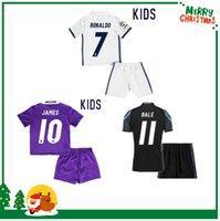 Wholesale 16 Real madrid kids boy kit Soccer Jersey Benzema Ronaldo football Modric Kroos Sergio Ramos Bale Marcelo james shirts