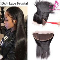 Wholesale Brazilian human hair closure straight lace frontal closure ear to ear A X4 frontal closure middle free three part frontal lace closure