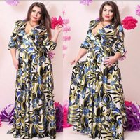 clothes for fat women - Plus size Colorful long Dresses for Fat women V Neck Sleeve large size printing clothes L88669