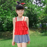 Wholesale milk silk swimming wear Condole belt swimming clothes girls swimming wear two pieces swimming polyester wear navy style chambray