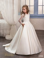 Wholesale Wedding Dresses for Little Girls Pentelei Cheap with Long Sleeves and Pockets Appliques Satin ivory flower girl dresses