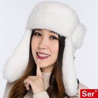 Wholesale Women Real Rabbit Fur Hat Nature Snow Winter Caps Ear Protection Headroom CM