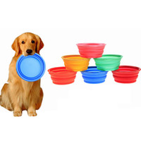 Wholesale Pet Dog Cat Fashion Silicone Collapsible Feeding Feed Water Feeders Foldable Portable Travel Food Bowls Dish colors Frisbee by DHL