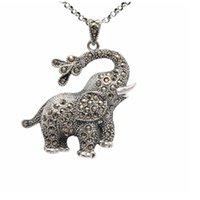 antique marcasite jewelry - antique thai silver jewelry lucky charm souvenir cute elephant silver pendant with marcasite stone PS02521
