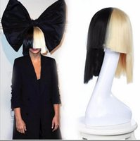 act costume - Sia Alive This Is Acting Half Black and Blonde Short Costume Cosplay Wigs Cover Nose Halloween Hair for Women Neat Bang