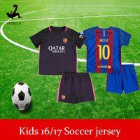 Wholesale Kids Soccer Jerseys Sets youth boys child kits INESTA SUAREZ MESSI NEYMAR JR FOOTBALL jerseys Children MESSI football set kit