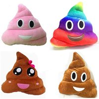 Wholesale 11 styles cm Decorative Cushion rainbow Emoji plush toys Pillow Gift Cute Shits Poop Stuffed Toy Doll