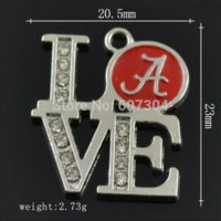 alabama necklace charms - 12Pcs Metal Rhodium Plated Trendy Enamel Crystal Love Team Logo Alabama Crimson Tid Pendant Charms Jewelry