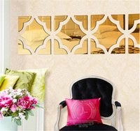 acrylic tile adhesive - Hot Sale Explosion Models DIY Three Dimensional Wall Stickers Acrylic Mirror Gold Silver Proof New European And American Fashion jy745