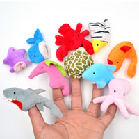 Wholesale Cloth Soft Stuffed Plush Cute Doll Velvet Marine Animal Style Finger Puppets Wedding Gift Cartoon Baby Story Telling Toy
